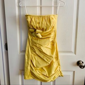 Golden-yellow Bridal/Prom Strapless Dress